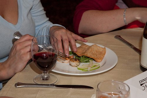 Food and Wine on the plate