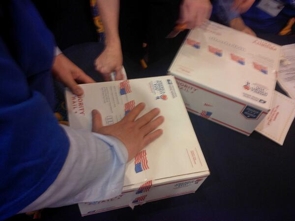 completing care packages for soldiers