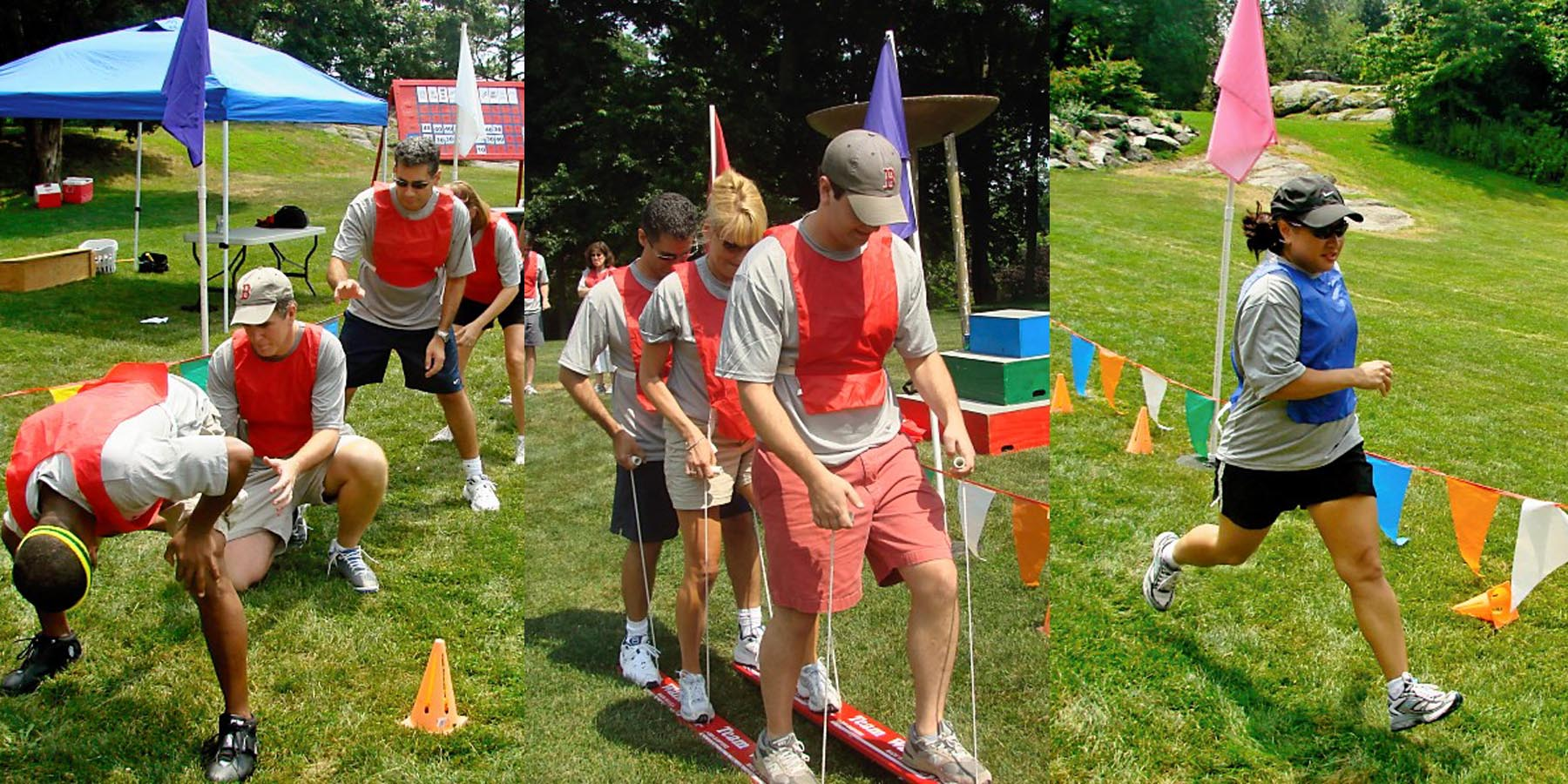 Various groups and individuals competing in the obstacle courses for Outrageous games