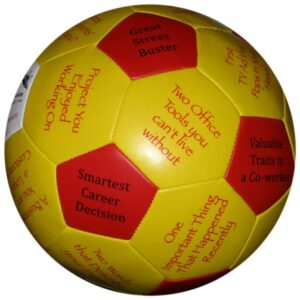 A soccer ball with option and question during the meet and greet event