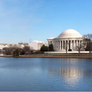 Beautiful Panoramic view of the Washington DC skyline showing the Washington Monument and the Jefferson Memorial.