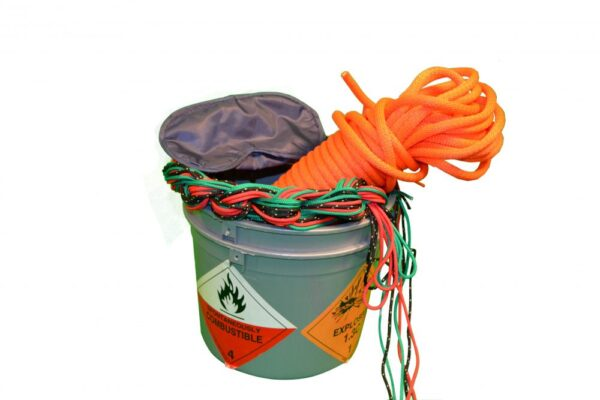 Flammable ropes in a bucket with a combustible warning sticker